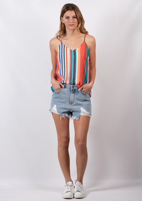 DS18D20409SS Multicoloured Stripe Cami (Pack) New Arrival