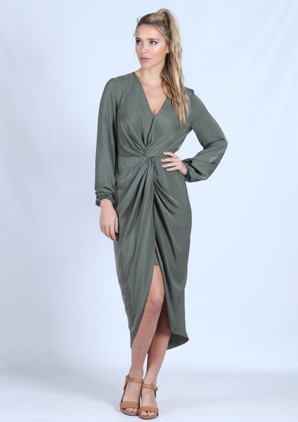 YW2211SS Long Sleeve Knot Front Draped Dress (Pack) New Arrival
