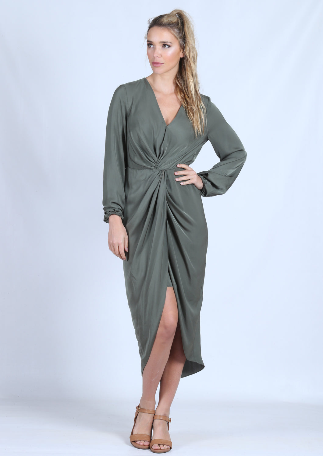 YW2211SS Long Sleeve Knot Front Draped Dress (Pack)