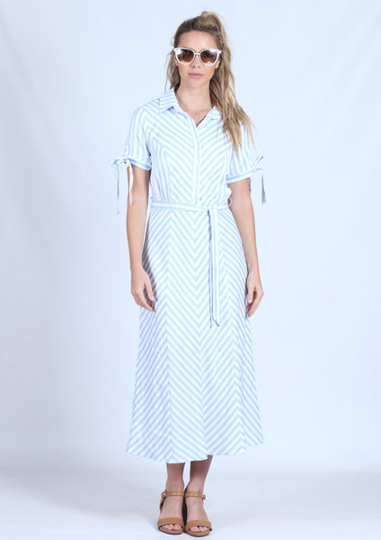 YW17152SS Striped Shirt Maxi Dress (Pack) New Arrival