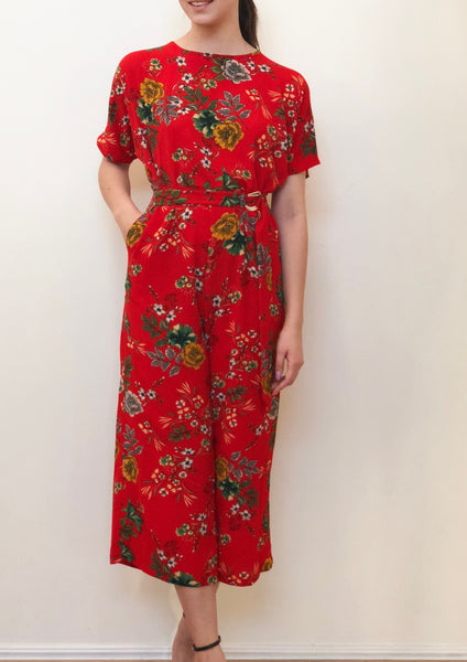 G019SS Red Floral Wide Leg Jumpsuit (Pack) New Arrival