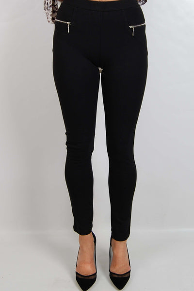 BS31664TB Front Zipper Black Ponte Pants (Pack) New Arrivals
