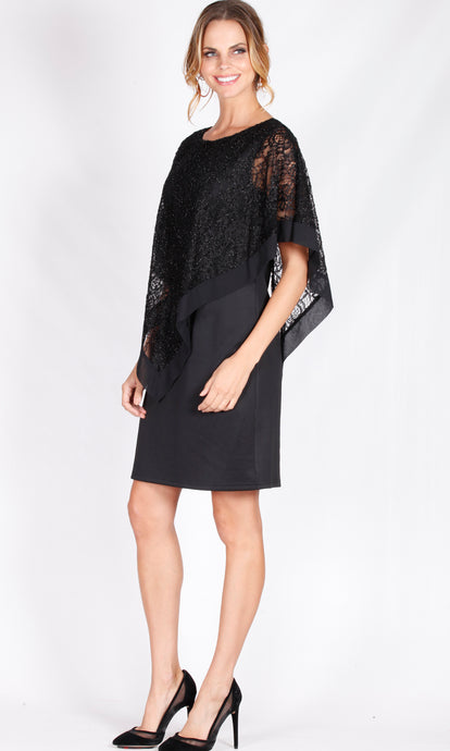BS816055-10NC Black Lace Sheer Overlay Dress (Pack) New Arrival