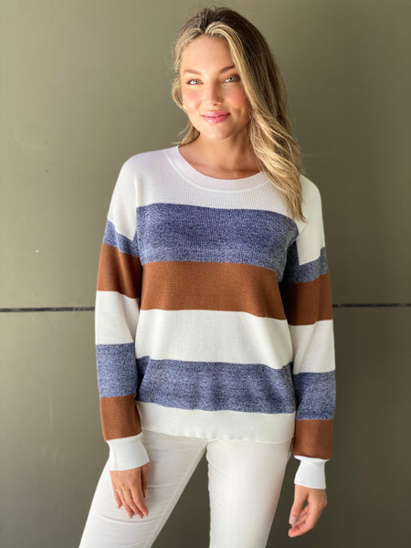 D385AK Round Neck Striped Knit Jumper (Pack) New Arrival