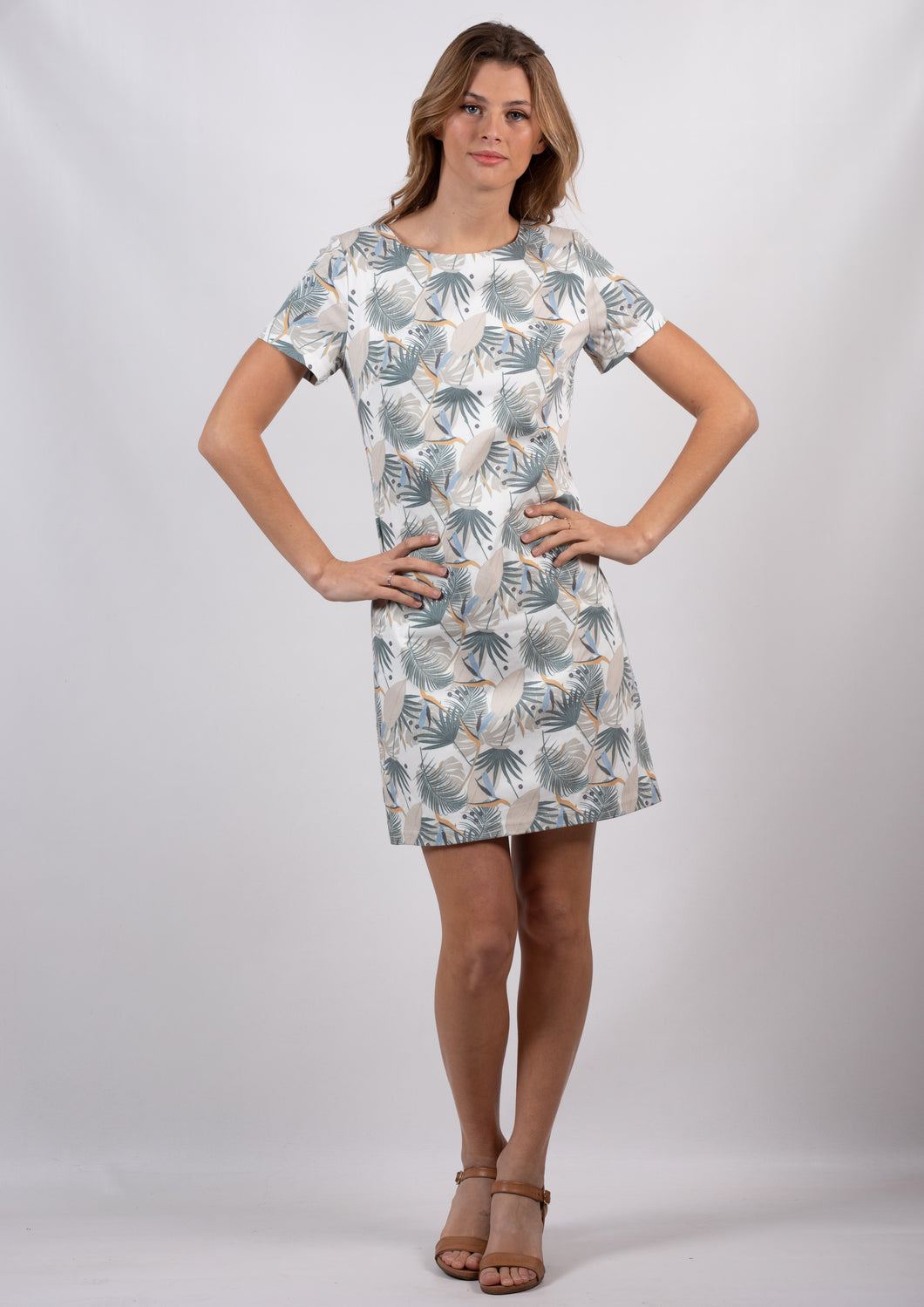 TG2536TB Palm Printed Shift Dress (Pack)