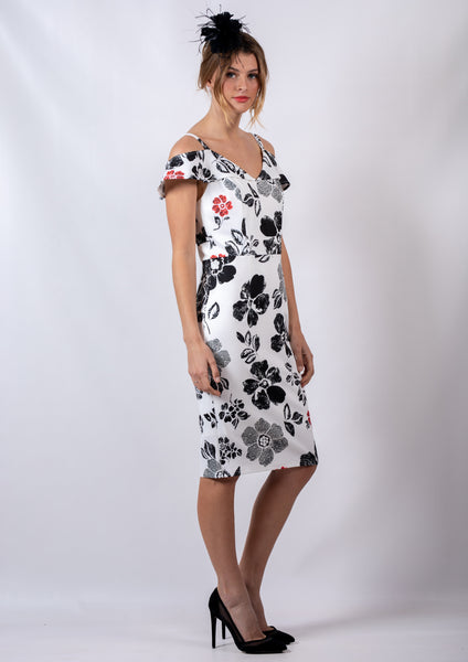 VS7200-7TB Floral Shoulder Cut Out Dress (Pack) New Arrival