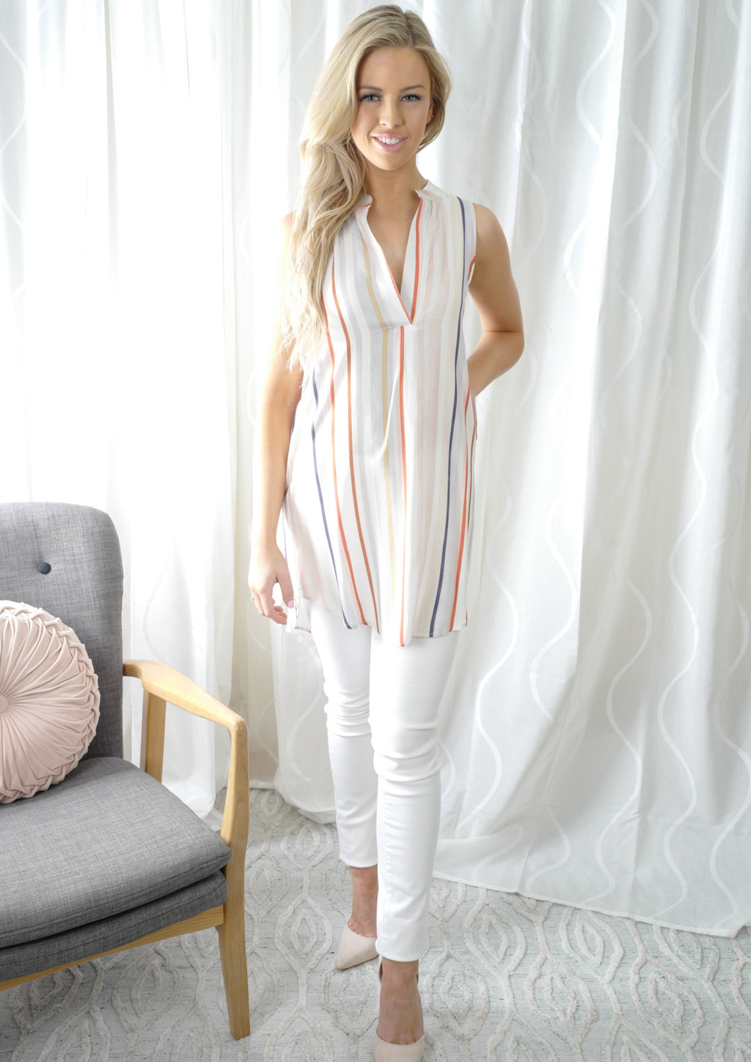 VY00321-1SS Multi Coloured Stripe Top (Pack)