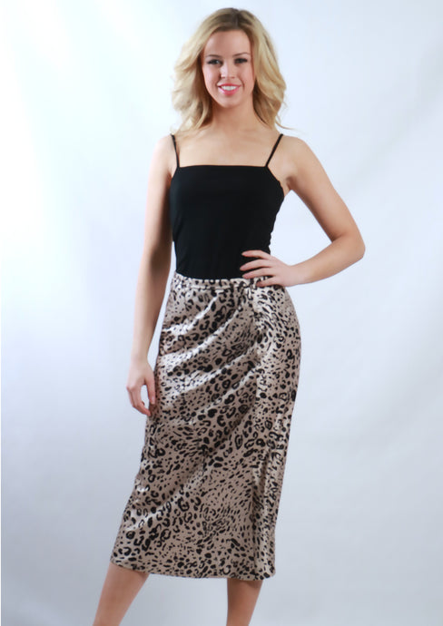VY0406-1SS Beige Leopard Sateen Midi Skirt (Pack) New Arrival
