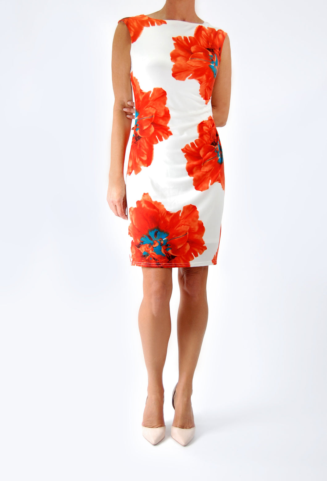 Shift style dress with Bright Floral Print and waist gathering.