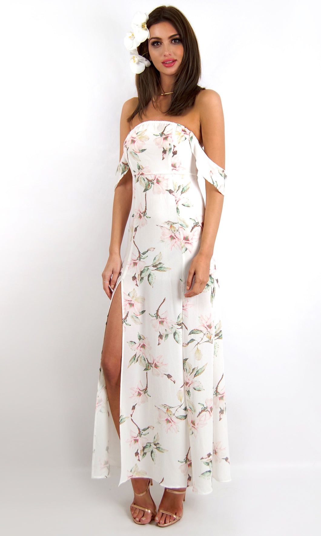 SSLP111SS Crushed Crepe Floral Maxi Dress (Pack) On Sale