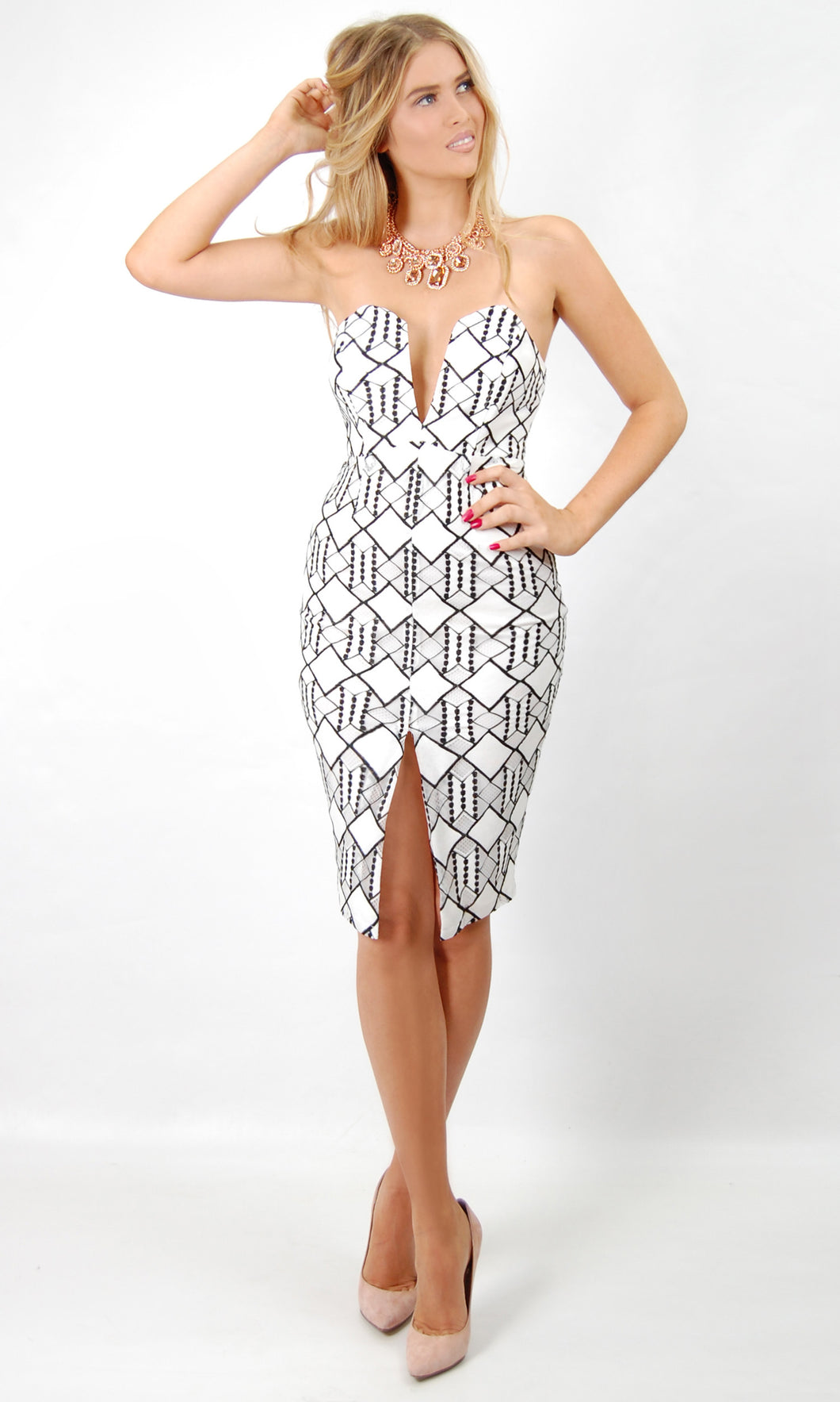 Black and White Lace Structure Dress