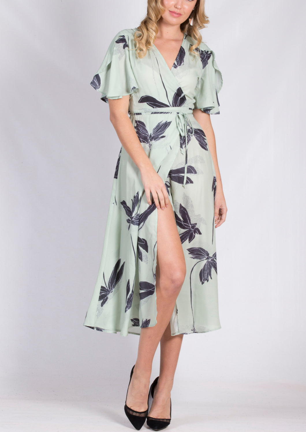YW2248TB Printed Wrap Mid Length Dress (Pack)
