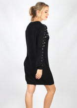 F2740SS Balloon Sleeve Knit Dress With Pearl Embellished Sleeve (Pack)