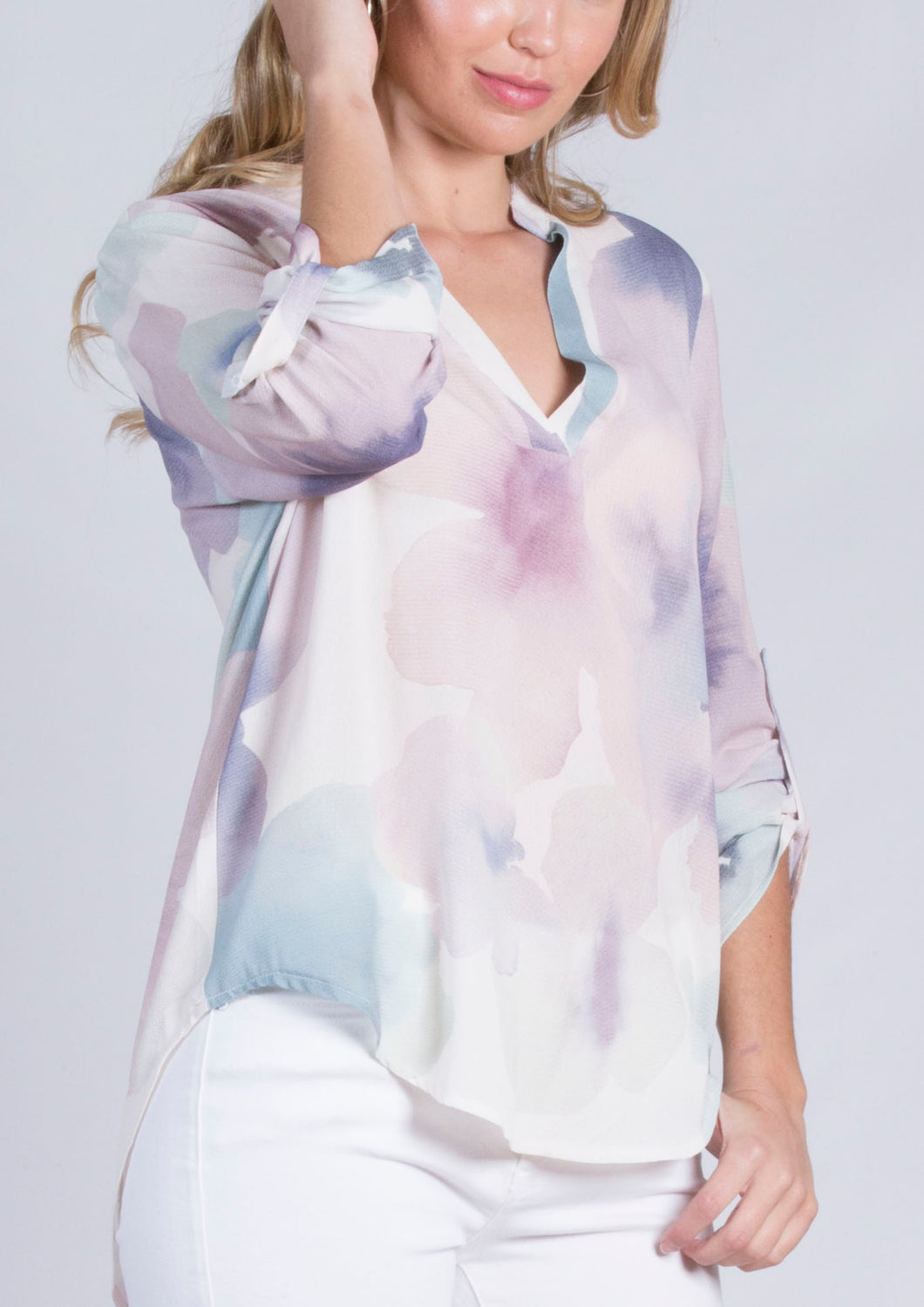 HS13021-158SS Washed Out Watercolour Johnny Collar Blouse (Pack) New Arrival