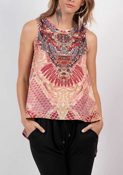 HS12353-14SS Aztec Printed Embellished Top (Pack) New Arrival