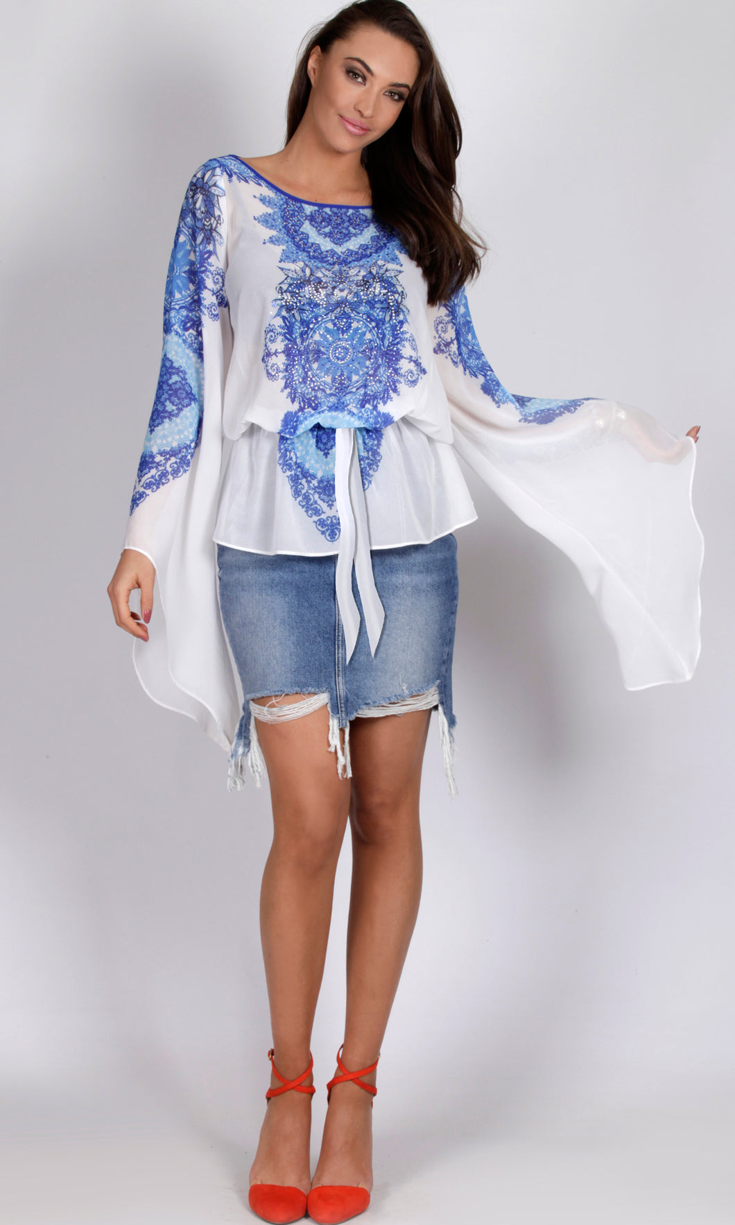 Chiffon Willow Print Tunic Top
