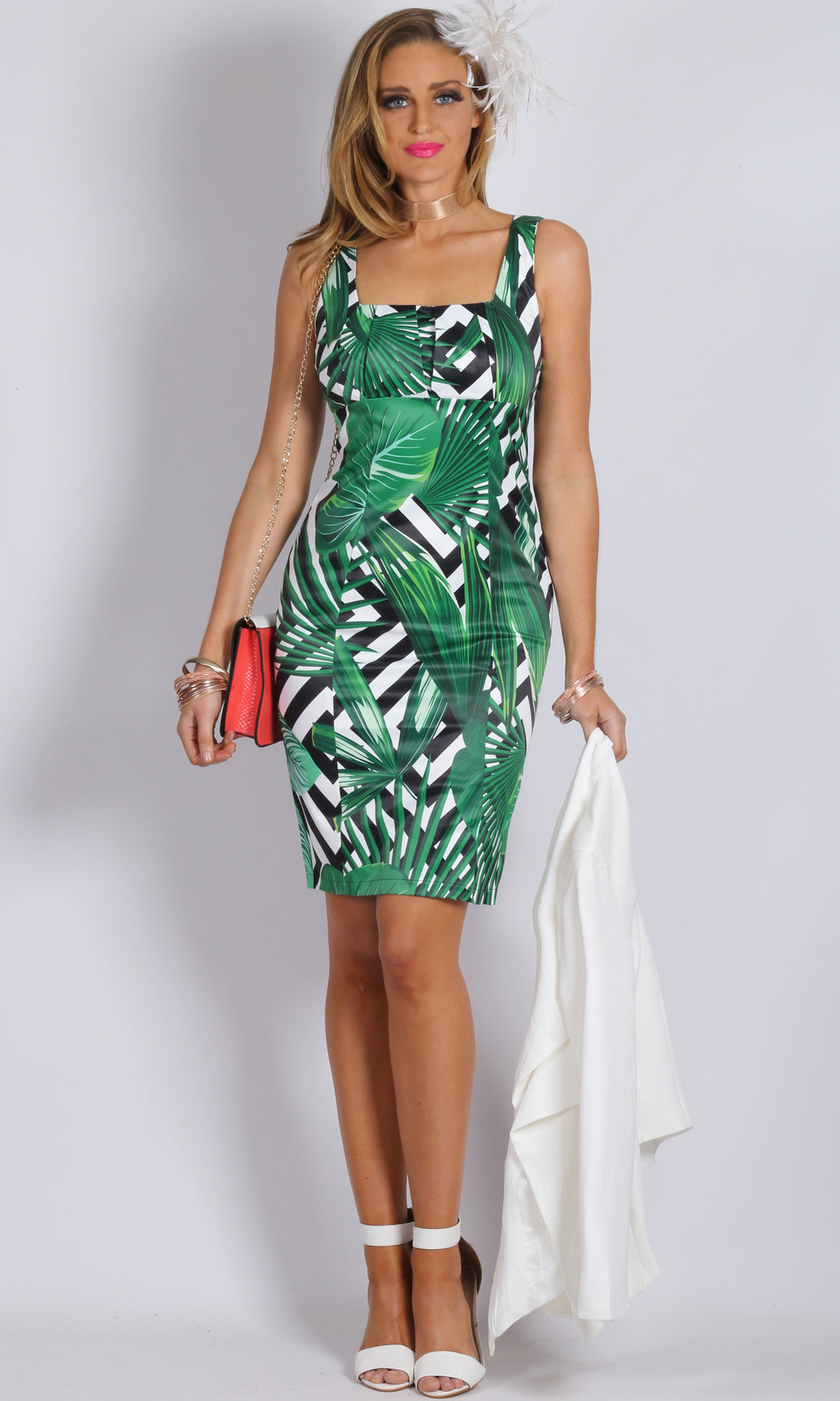 Palm Tree Print Bodycon Dress