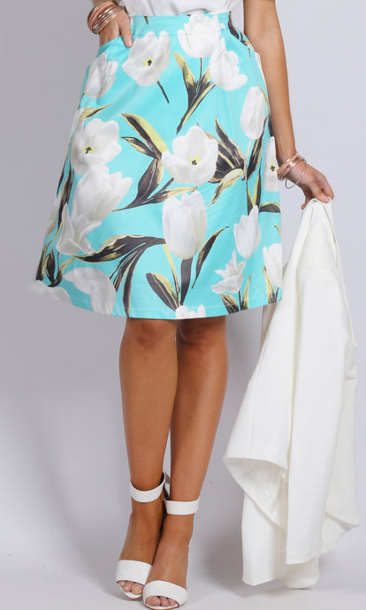 BS716006-17TB AQUA TULIP A-LINE MIDI SKIRT (Pack) On Sale