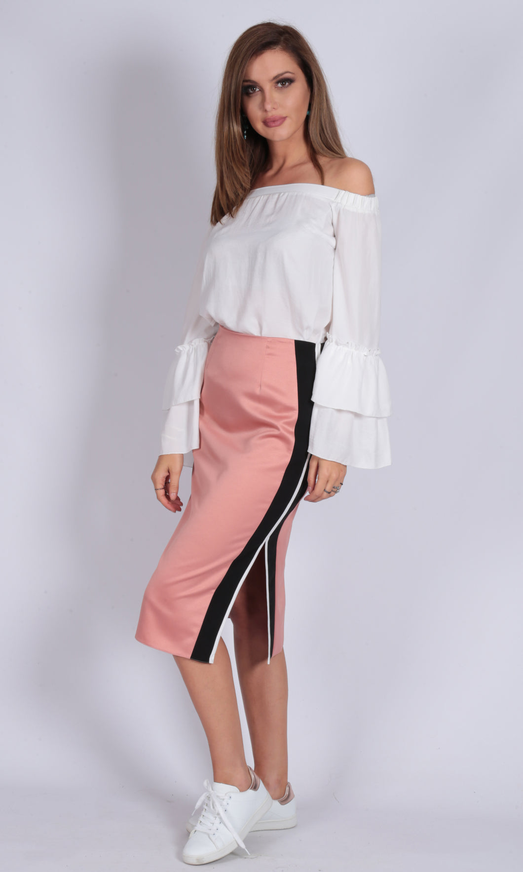 Pink Satin Side Split Skirt