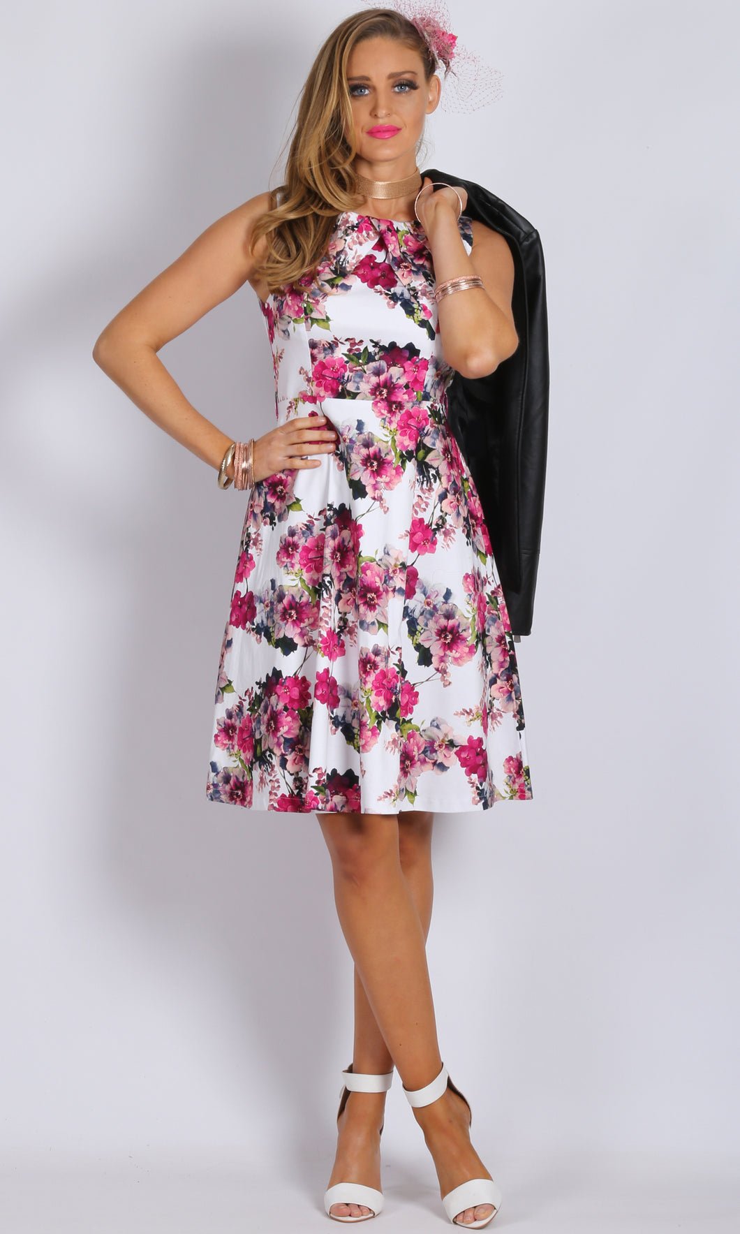 Pleated Neck Floral Dress