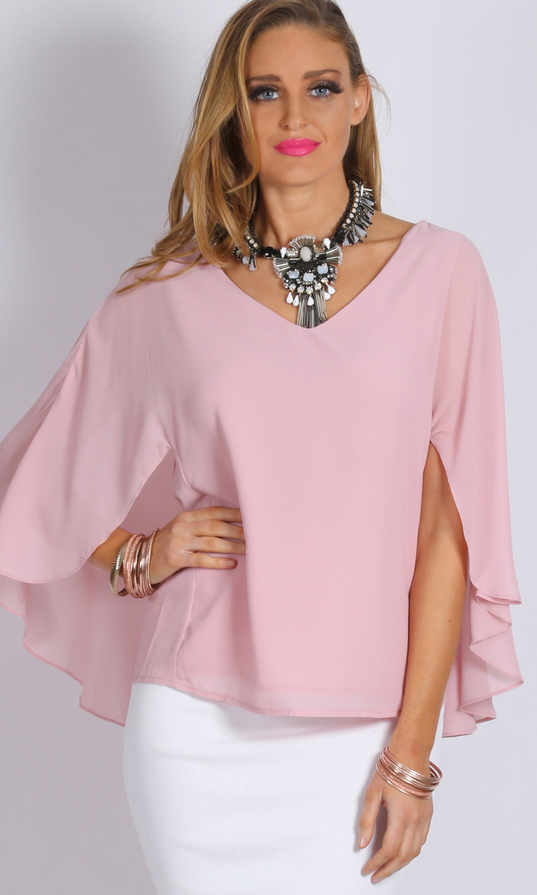 D4-11665TB V Neck Chiffon Top (Pack) On Sale