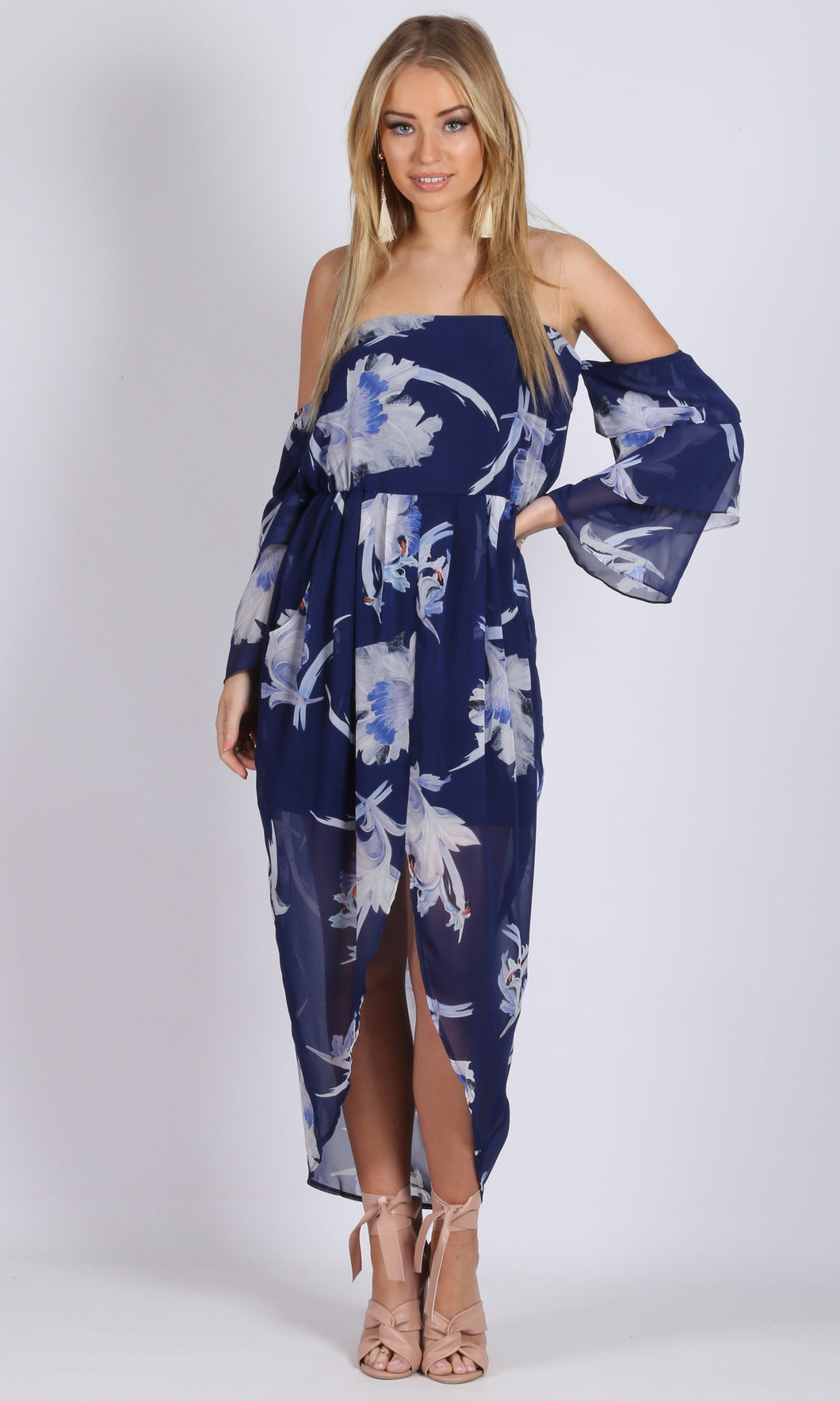 Cold Shoulder Drop Sleeve Chiffon Floral Dress