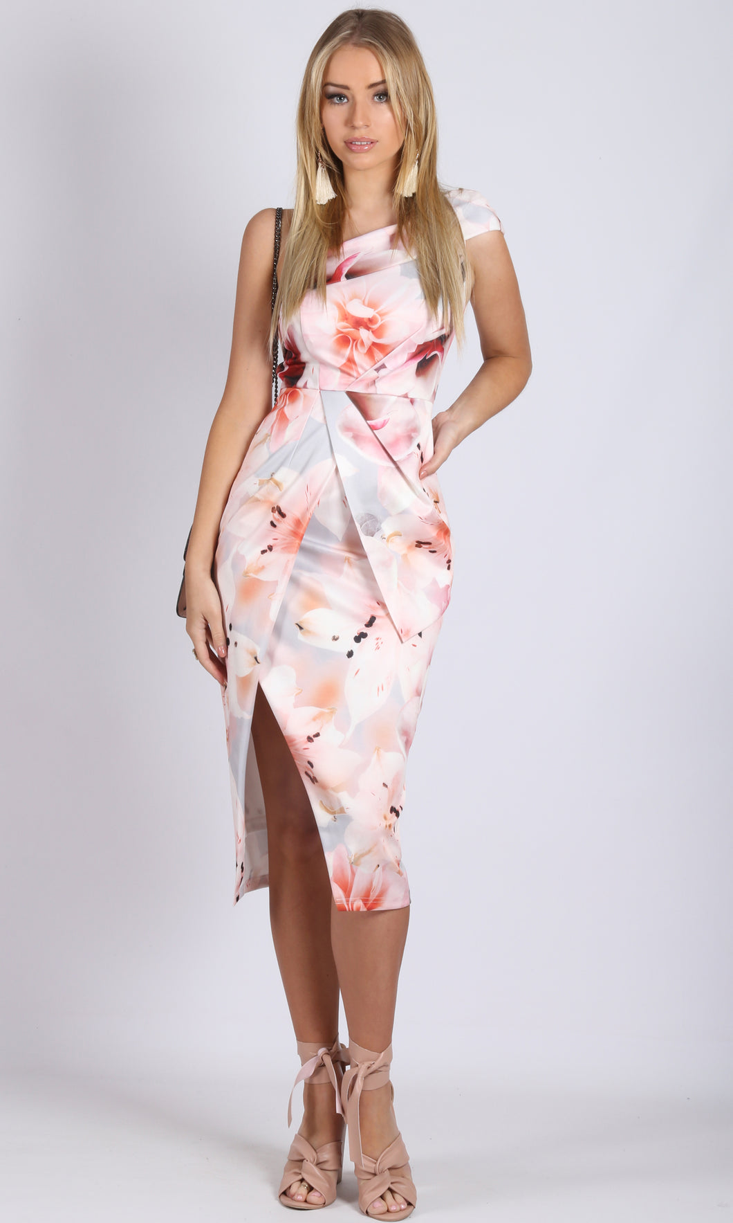 one shoulder oriental tulip dress