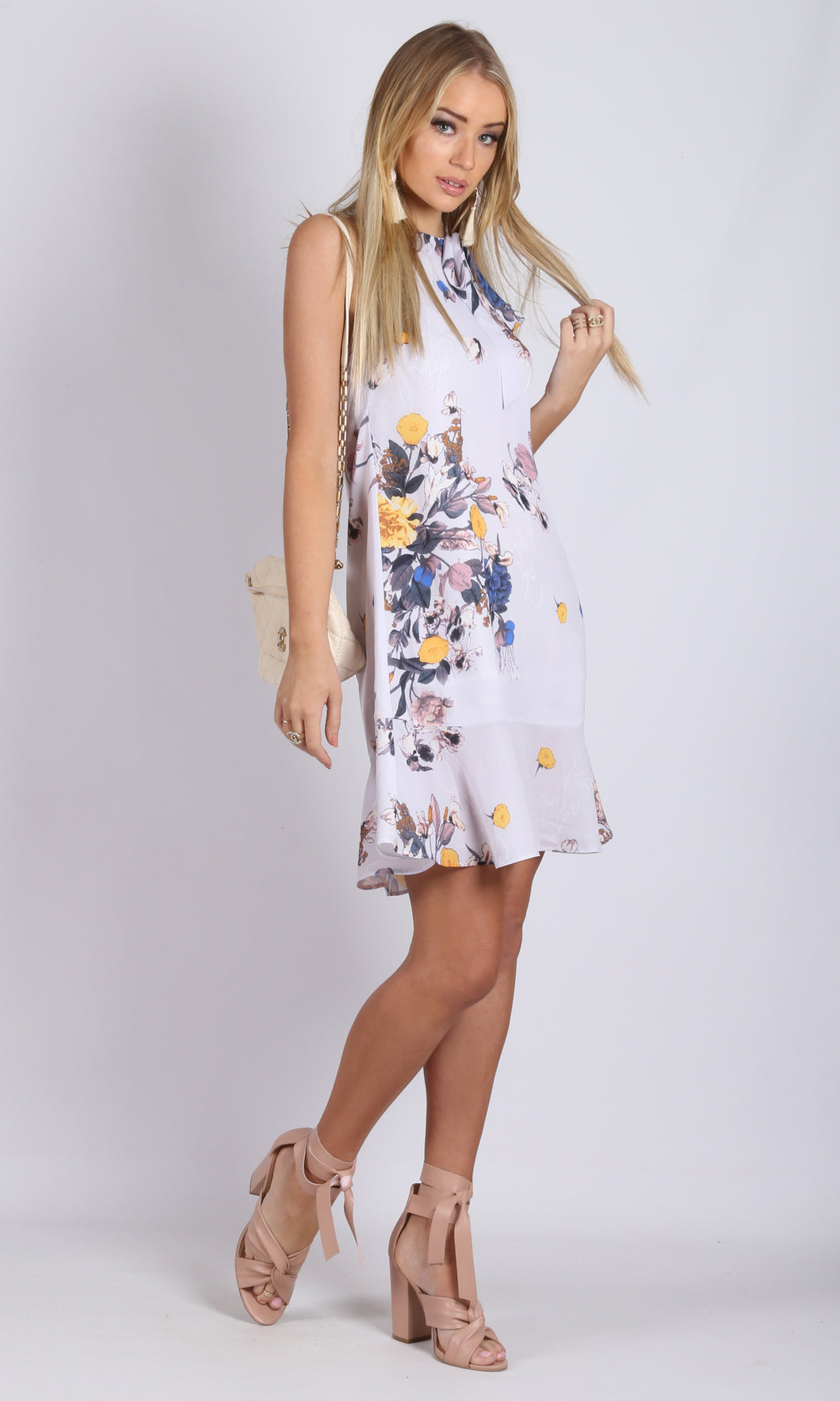 High Neck Pastel Floral Mini Dress
