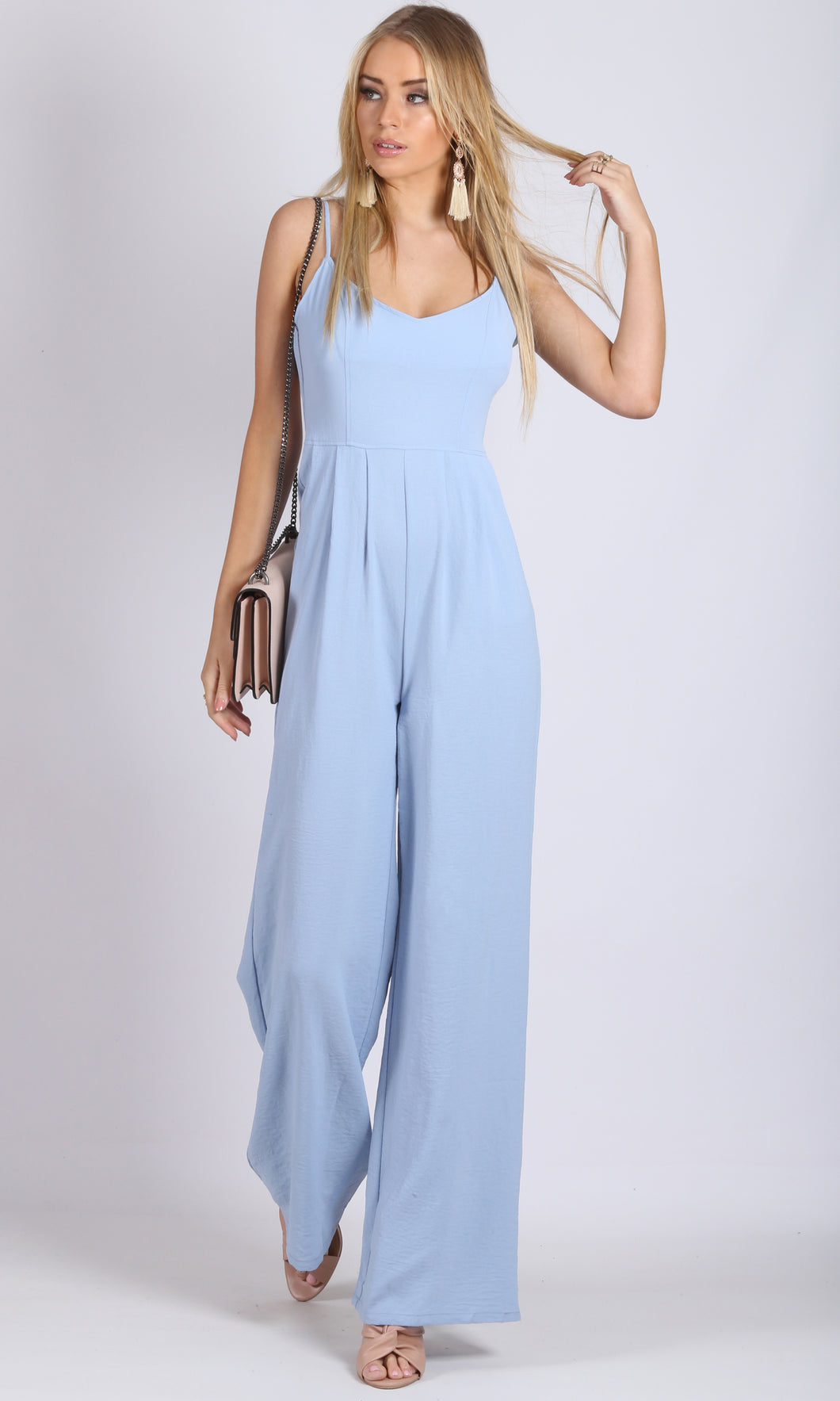 RV0958SS Baby Blue Wide Leg Jumpsuit (Pack)