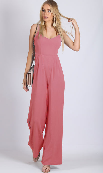 RV0958SS Dusty Pink Wide Leg Jumpsuit (Pack)