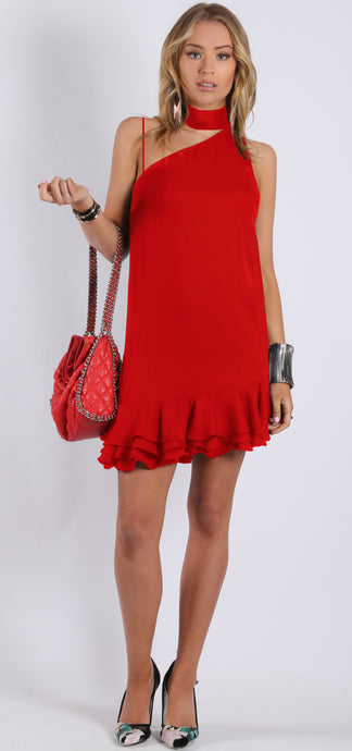 RC0815-1TE CHOKER NECK RED DRESS (Pack) On Sale