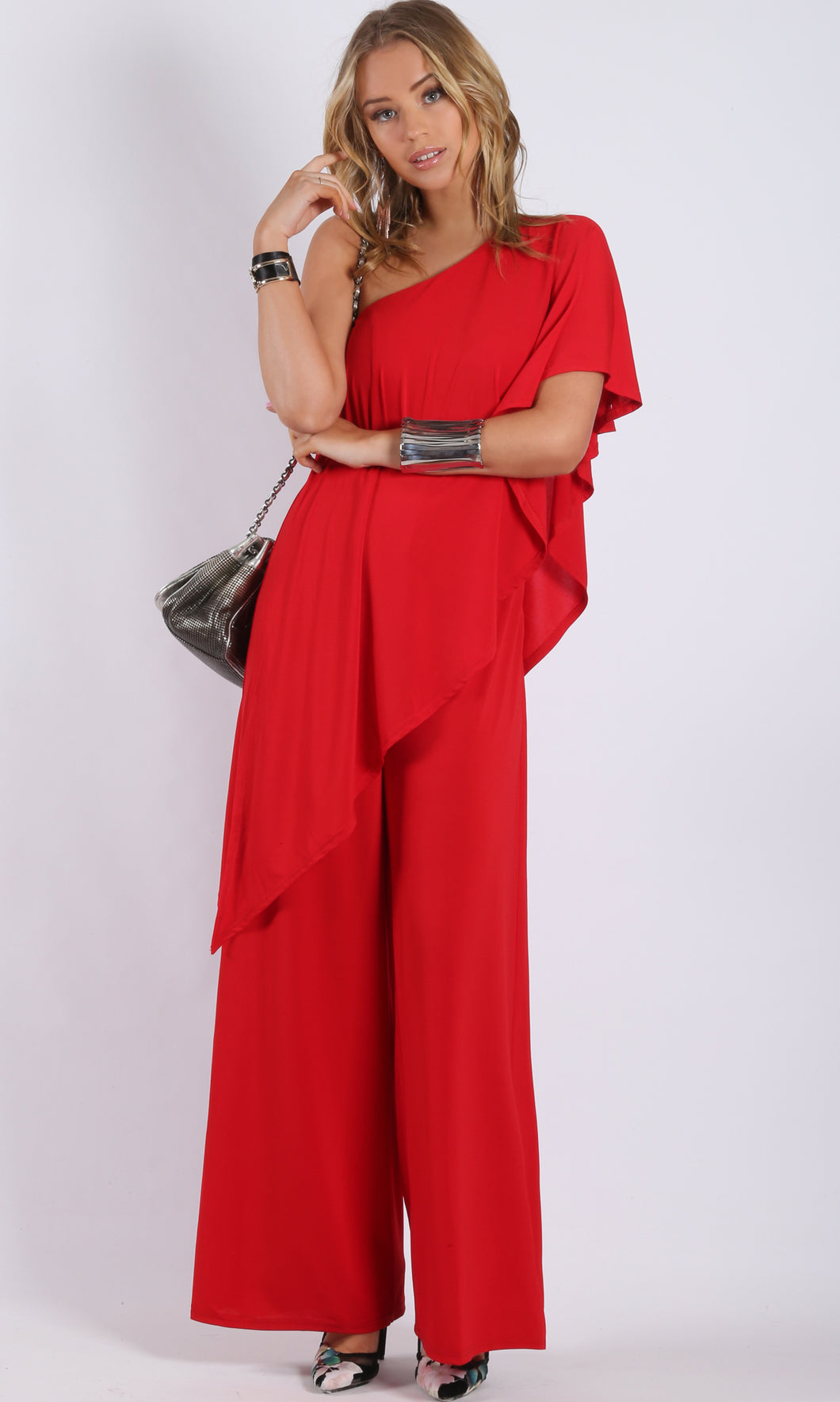 RV1048SS Red One Shoulder Jumpsuit (Pack)