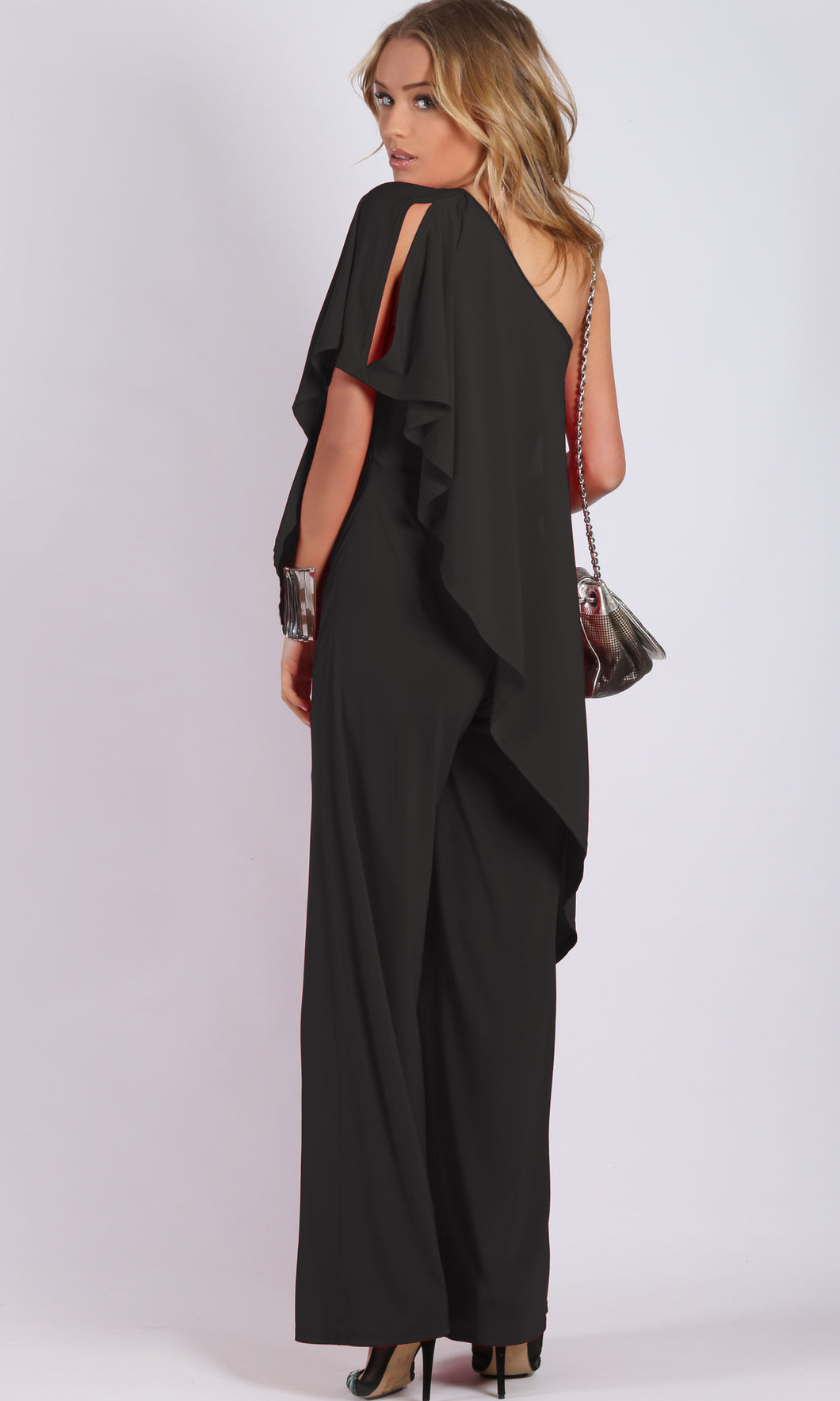 RV1048SS Black One Shoulder Jumpsuit (Pack)