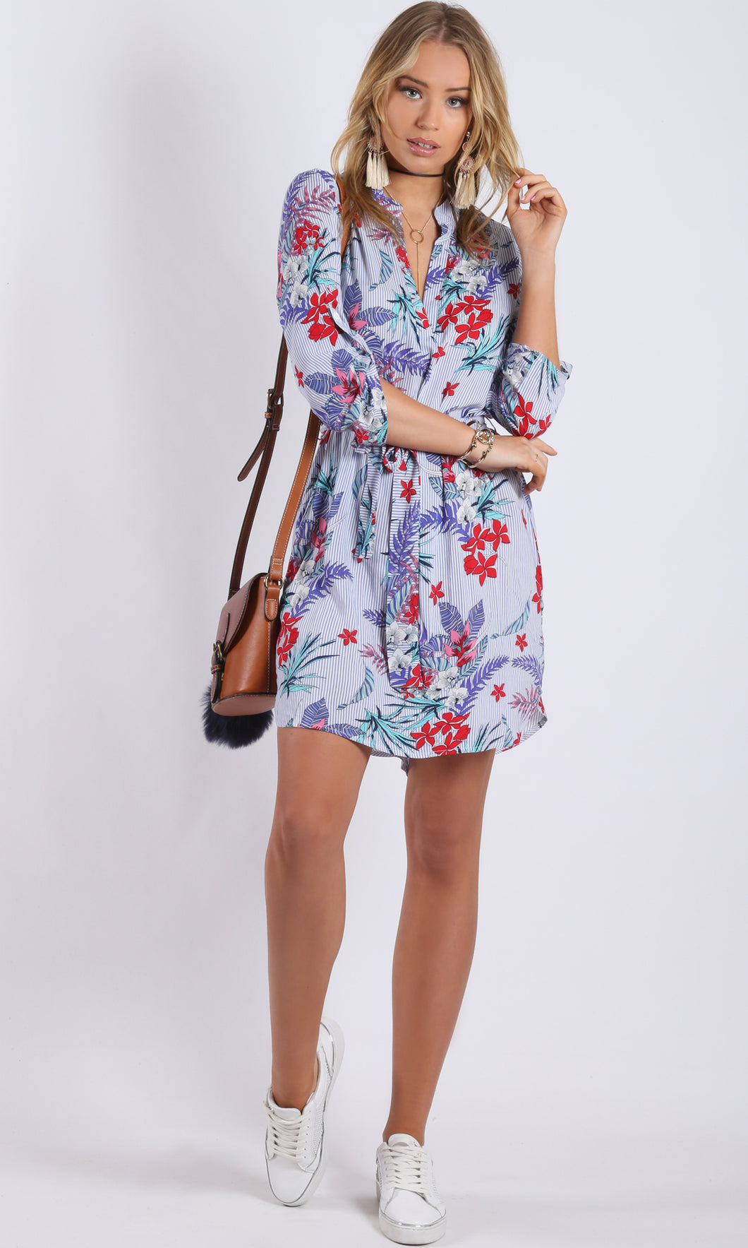 Johnny Collar Blue Pinstripe Floral Printed Dress