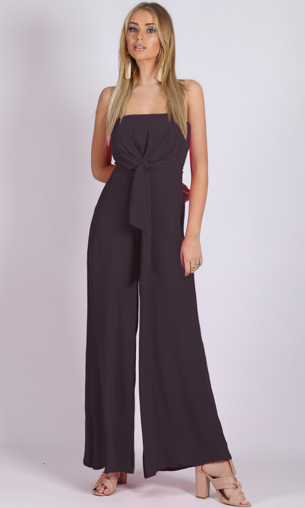 Strapless jumpsuit wide leg