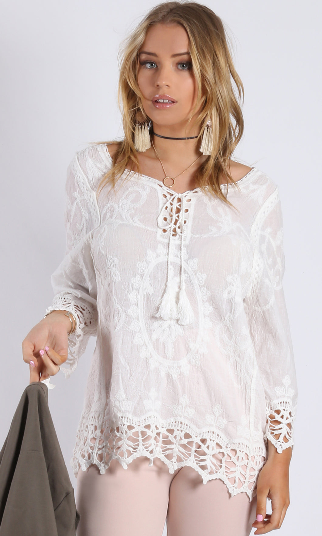 XW16135SS Bohemian Lace Up Top (Pack)