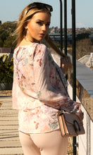 Pink Floral Overlay Chiffon Top