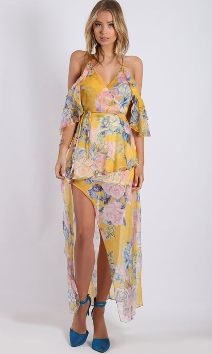 RV1102SS SHEER YELLOW FLORAL DRESS (Pack) On Sale