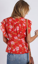 RV0986-2SS Red Floral Ruffle Wrap Top (Pack) On Sale