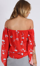 RV1045SS Off Shoulder Print Red Top (Pack)