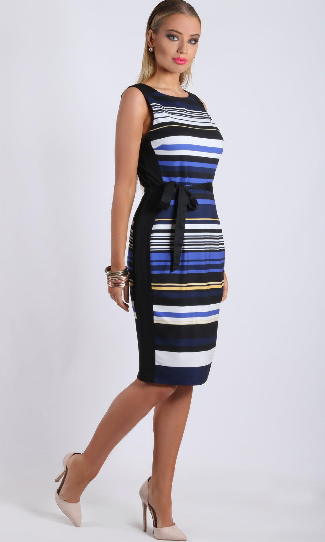 VS7147TB Stripes with Black Side Panel Dress (Pack)