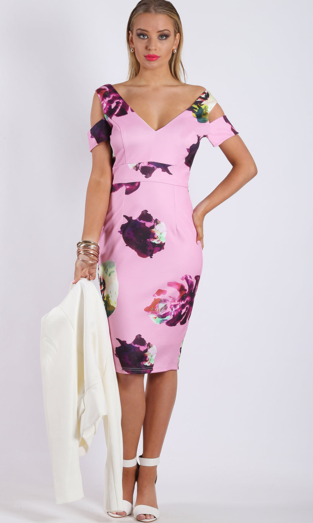RC0745-11TB Cold Shoulder Body Con Pink Midi Dress (Pack)