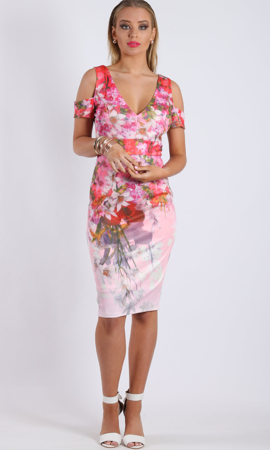 RC0745-10TB Pink Garden Midi Dress (Pack) On Sale