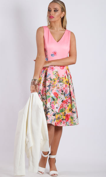 BS816010-6TB A Line Box Pleat Pink Floral Printed Dress (Pack) On Sale