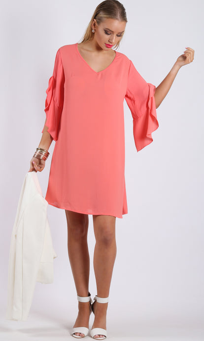 RV0998NC CORAL TUNIC RUFFLE SLEEVE DRESS (Pack)
