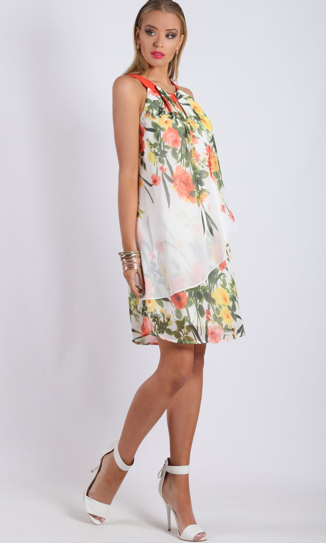 JS0224-14TB Floral Halter Neck Dress (Pack)