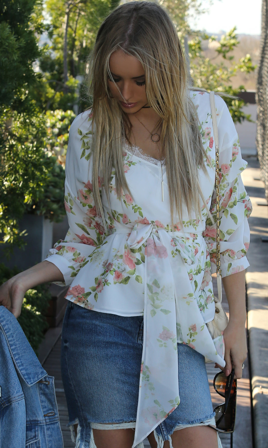 Floral Wrap With Gathered Balloon Sleeve Top