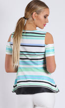 BS716044-3TB Cold Shoulder Peplum Stripe Top (Pack) On Sale