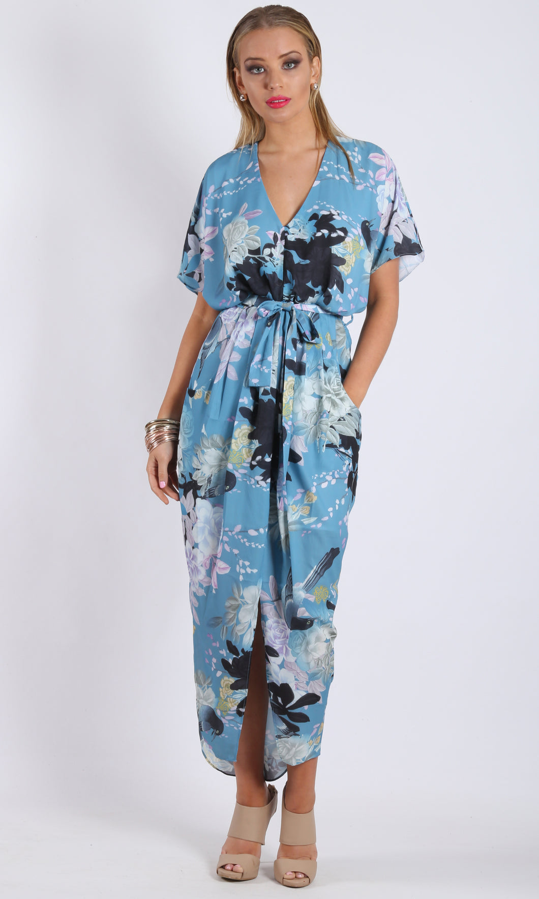 WV167-6SS Oriental Floral Midi Dress (Pack)