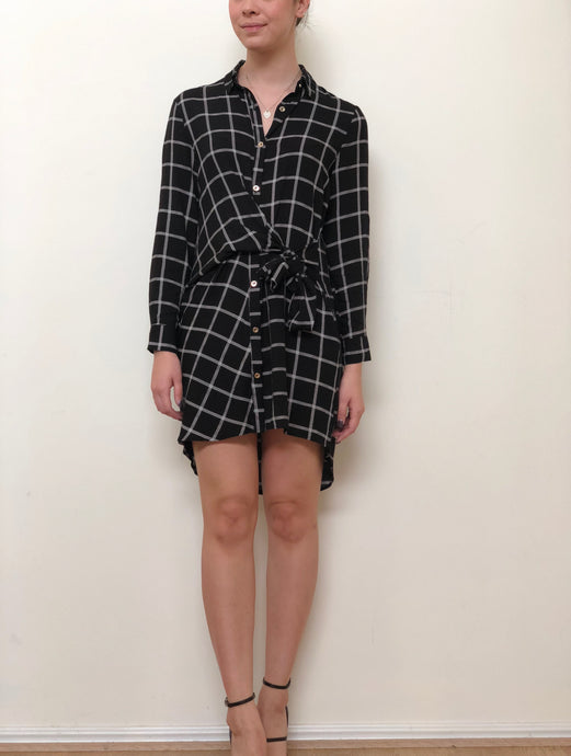 YW2092SS Square Print Tie Front Shift Dress(Pack) New Arrival